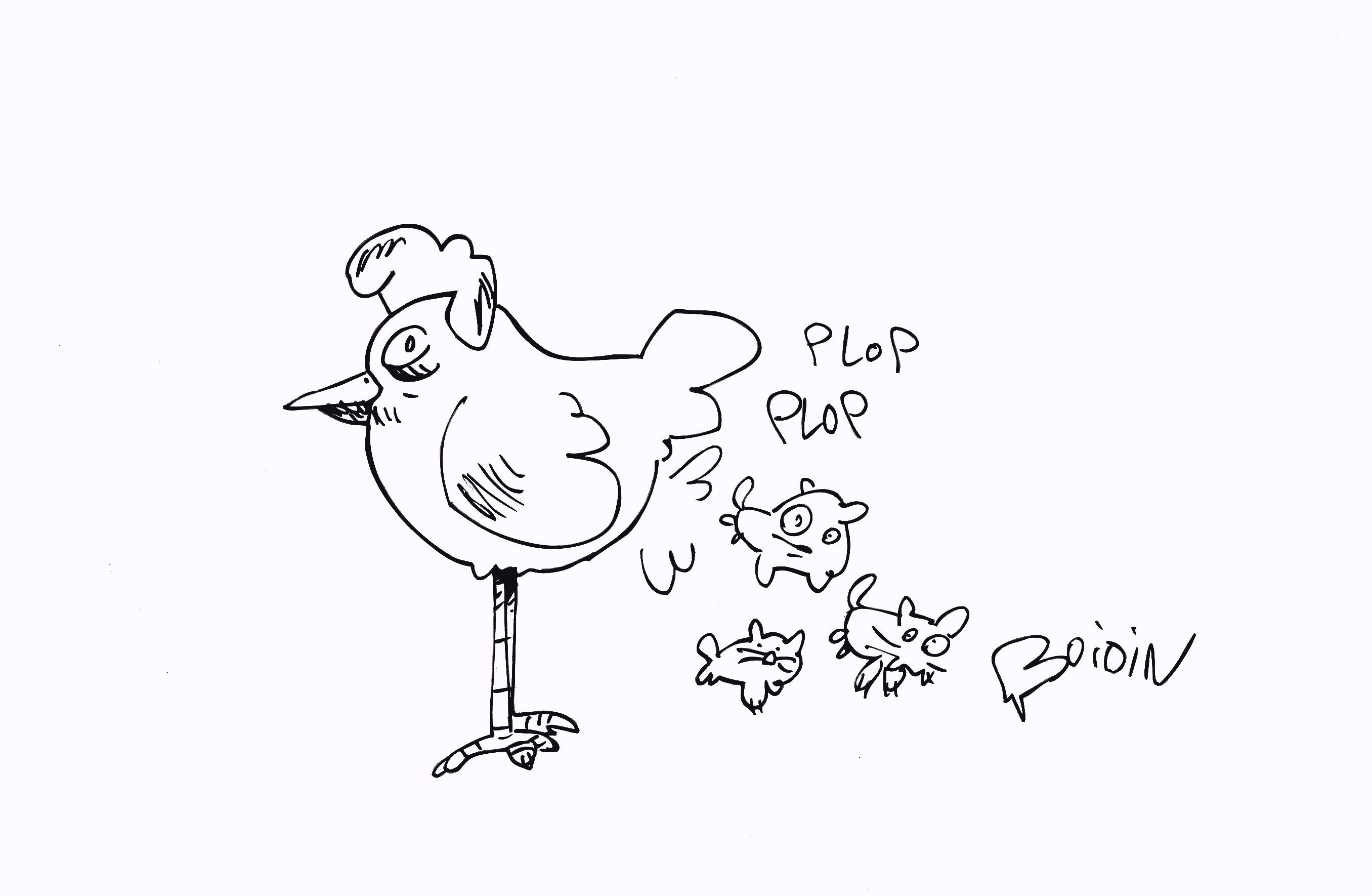 2 minutes pour dessiner vs nota bene une poule qui p te des chats youtube - Une poule dessin ...